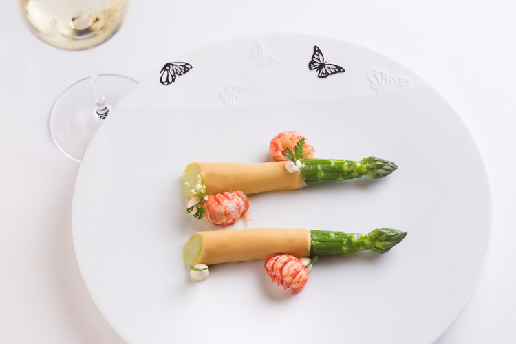 『Green Asparagus by Gerome Galis Baby Lobster Bisque Coat, Blinis』
