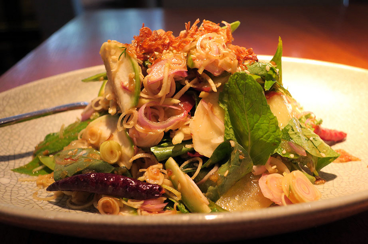 『Thai vegetable and fruit salad with tamarind, palm sugar and sesame dressing』